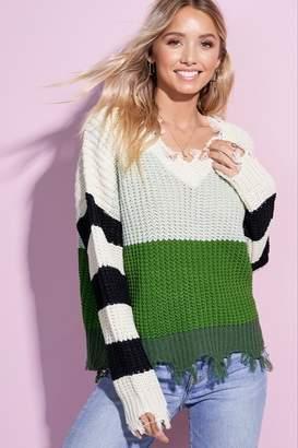 La Miel Green Striped Sweater
