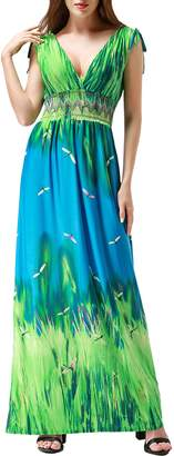 Wantdo Women's Boho Maxi Dress Floral Printing Open Back Long Dress Plus Size