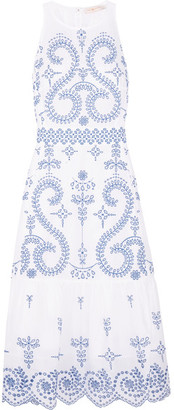Tory Burch - Mariana Embroidered Cotton Midi Dress - White $695 thestylecure.com