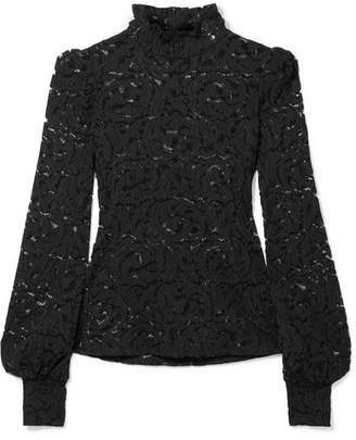 L'Agence Samara Stretch-lace Turtleneck Top - Black
