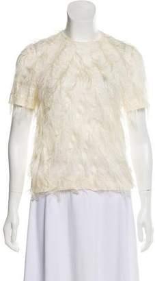 Cédric Charlier Short Sleeve Frayed Top