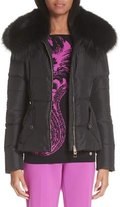Versace Down Puffer Jacket with Removable Genuine Fox Fur Collar