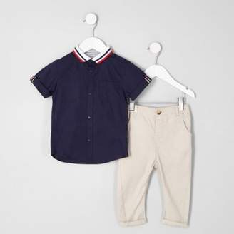 River Island Mini boys navy knitted collar shirt outfit