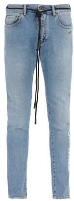 Off-white - Shoelace Belt Slim Fit Jeans - Mens - Light Blue