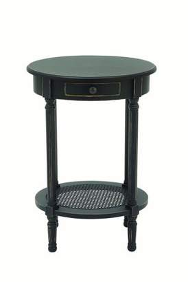 DecMode Decmode Traditional 28 X 20 Inch Distressed Wooden Round Accent Table, Black