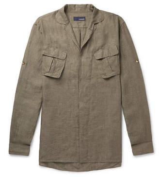 Lardini Camp-Collar Linen Shirt