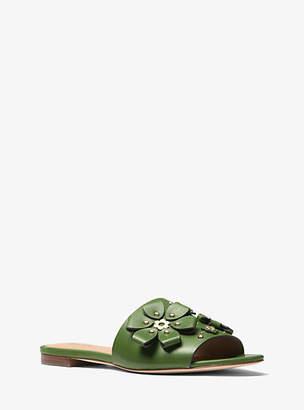 Michael Kors Tara Floral Embellished Leather Slide