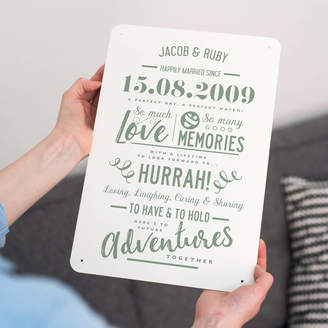 Delightful Living Personalised Anniversary Metal Type Print