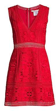 Alice + Olivia Women's Zula Floral Eyelet Lace A-Line Dress