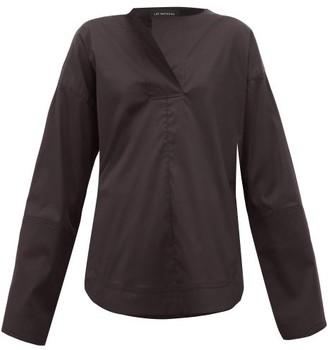Lee Mathews - Elsie Rounded Hem Cotton Blend Shirt - Womens - Black