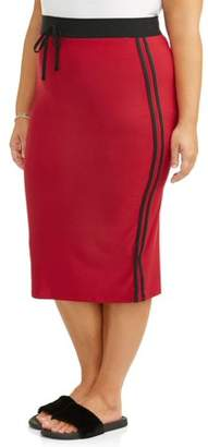 Eye Candy Junior's Plus Super Soft Brushed Knit Skirt with Varsity Stripe