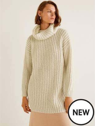 MANGO Roll Neck Knitted Jumper - Cream