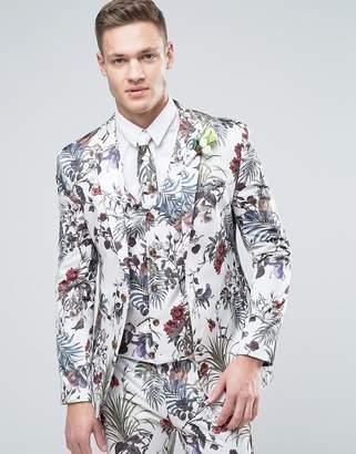 ASOS WEDDING Super Skinny Suit Jacket in Cream Floral Print $128 thestylecure.com