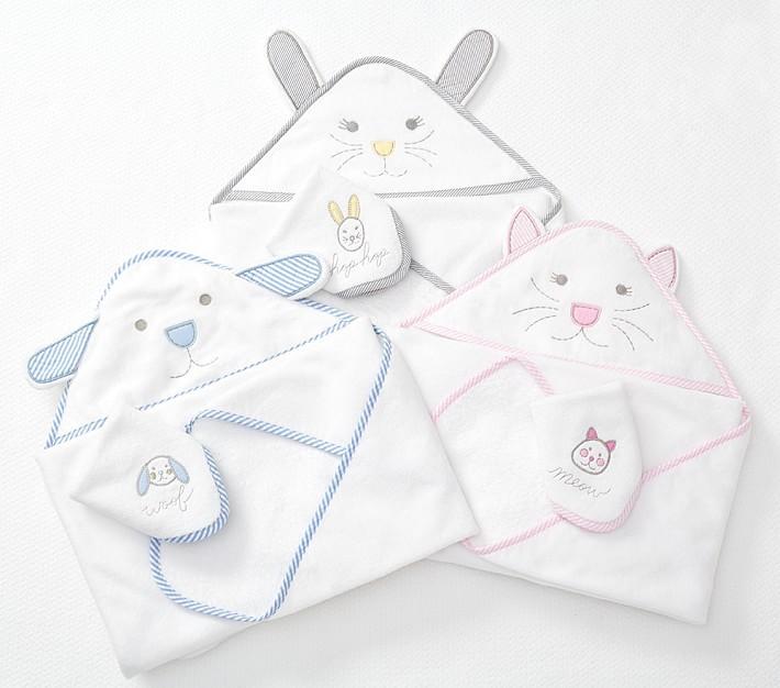 Pottery Barn Kids Organic Bath Wrap and Washcloth Gift Set