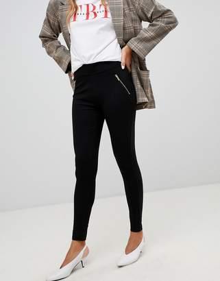 New Look zip detail legging in black