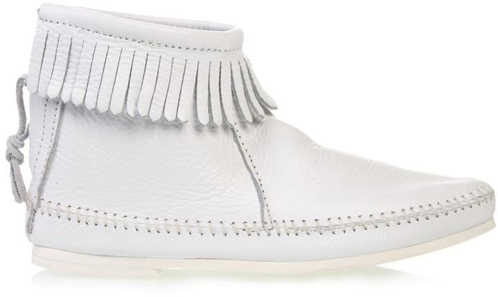 MINNETONKA - Fringed flat leather boots