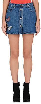 Valentino Women's Butterfly-Embellished Denim Miniskirt