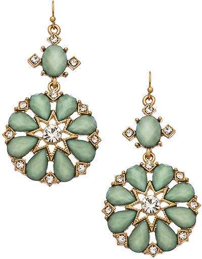 Blu Bijoux Jade Crystal Flower Earrings