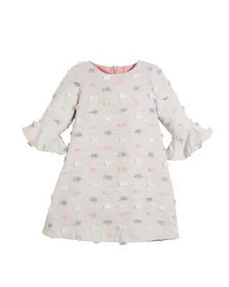 Luli & Me Fluted-Sleeves Furry Dot Dress, Size 4-6X