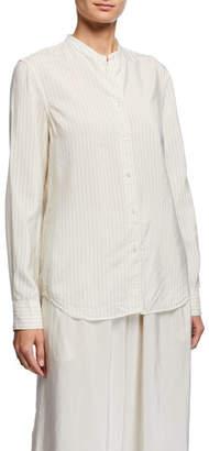 Aspesi Striped Band-Collar Button-Front Long-Sleeve Shirt