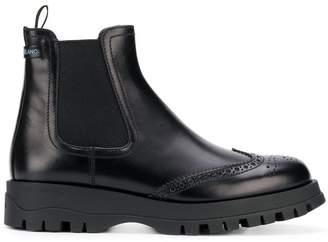 Prada punch hole slip-on boots
