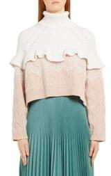 Fendi Lace Trim Mixed Stitch Wool & Cashmere Sweater