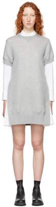 Sacai Grey Short Sponge Sweat Dress