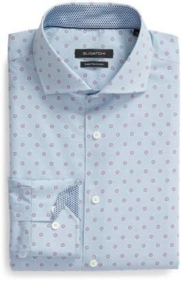 Bugatchi Trim Fit Floral Dot Print Dress Shirt