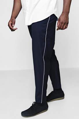 boohoo Big And Tall Tailored Trousers With Piping