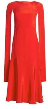 Calvin Klein Women's Silk Cape-Sleeve Midi Dress - Red Carnation Pink - Size 38 (2)