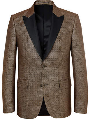 Givenchy Gold Slim-Fit Silk-Trimmed Logo-Jacquard Blazer