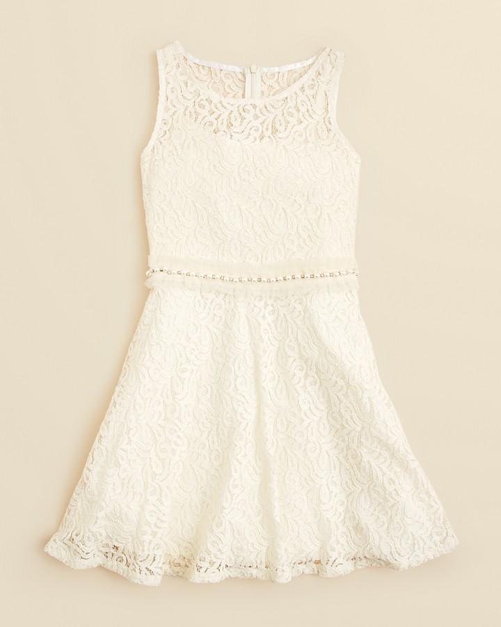 Un Deux Trois Girls' Crochet Lace Dress with Pearl Trim - Sizes 7-16