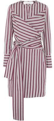 Victoria Beckham Wrap-effect Striped Cotton Dress