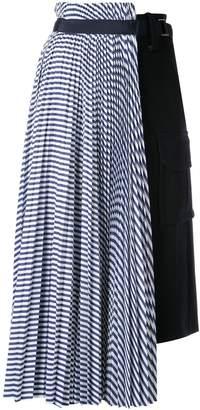 Sacai striped hybrid skirt