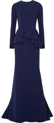 Reem Acra - Crepe Peplum Gown - Navy