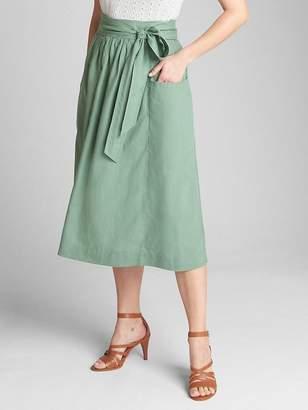 Gap Tie-Belt Midi Skirt in Linen-Cotton