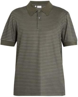 Brioni Striped cotton and silk-blend piqué polo shirt