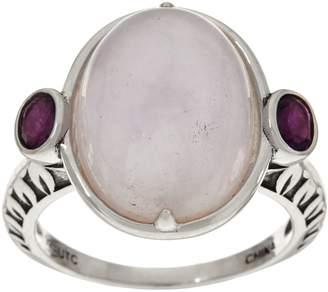 Oval Jade & Gemstone Sterling Silver Ring