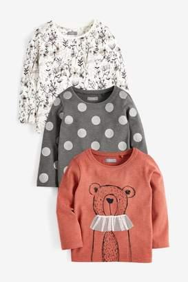 Next Girls Rust 3 Pack Bear Long Sleeve T-Shirts (3mths-7yrs) - Brown