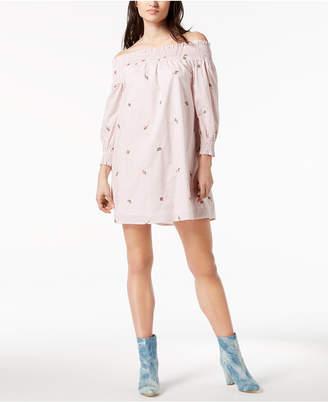 J.o.a. Embroidered Off-The-Shoulder Dress
