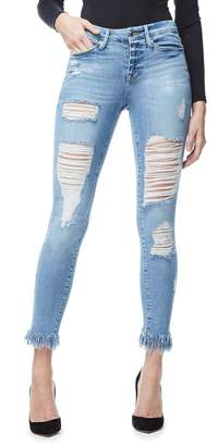Ga Sale Good Legs Fray Ripped Jeans - Blue018