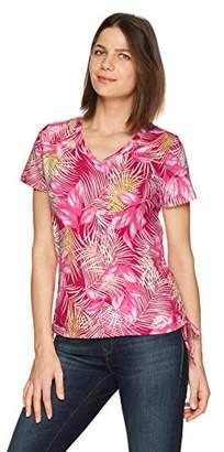 Caribbean Joe Women's Best Selling Short Sleeve V Neck Side Ruched Top