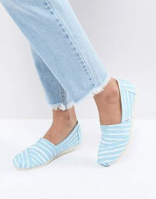 Toms Painted Blue Stripe Shoes