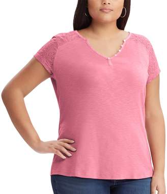 Chaps Plus Size Lace Sleeve Henley Tee