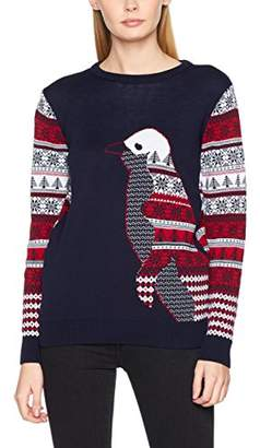 Original Penguin British Christmas Jumpers Women's Navy Christmas Jumper,(Manufacturer Size: M)