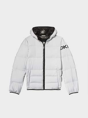 DKNY Reflective Hooded Logo Down Grey XL