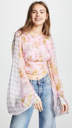 Natasha Zinko Balloon Sleeve Floral Crop Top