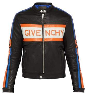 Givenchy Logo Applique Leather Biker Jacket - Mens - Black Orange