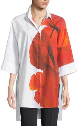 Escada Sport Orchid-Print 3/4-Sleeve Poplin Tunic