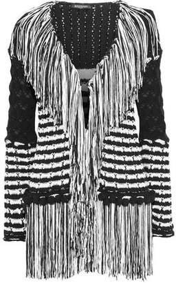 Balmain Fringed Striped Crochet-Knit Cardigan